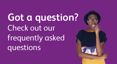 Promotional text and image linking to UCAS FAQs