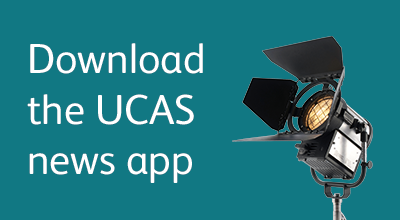 Promotional text and image linking to UCAS app
