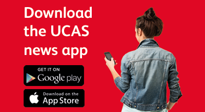 Promotional text and image linking to UCAS news app