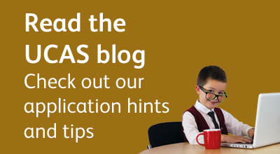Promotional text and image linking to UCAS blogs