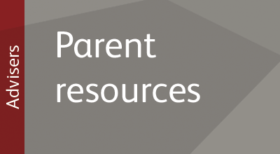 Promotional text and image linking to UCAS parent resources